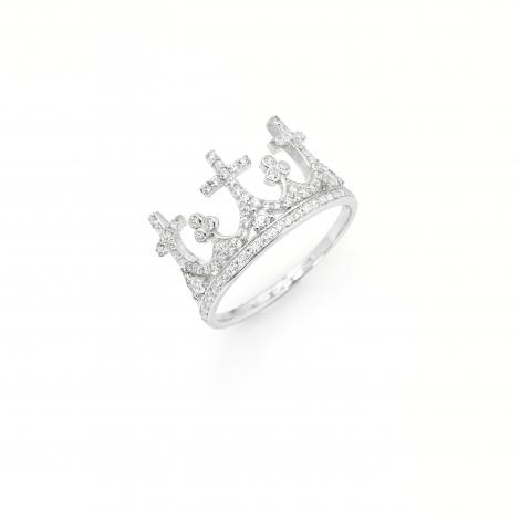 anello corona donna AMEN AC3 argento 925 e zirconi
