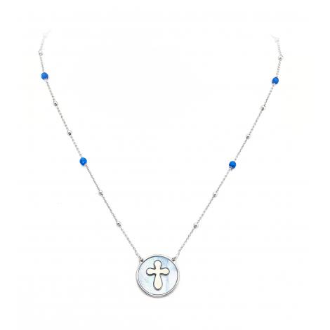 collana donna AMEN CLMPBBL argento 925 cristalli blu e madreperla