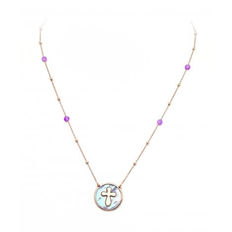 collana donna AMEN CLMPRV argento 925 cristalli viola e madreperla