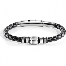 SECTOR MAN SILVER BRACELET SLI41 LEATHER WITH ANALGER STAINLESS STEEL