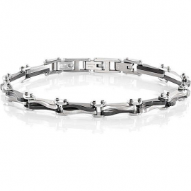 SECTOR MAN SILVER BRACELET SLI48 POLISHED AND SATINATED STAINLESS STEEL WITH BLACK PVD.