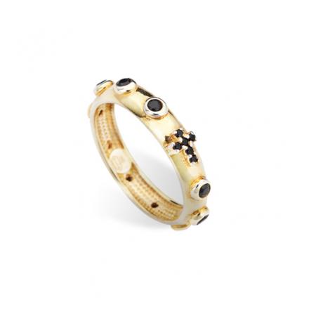 anello donna AMEN AROGN argento 925 con cristalli neri
