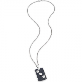 MAN SILVER NECKLACE SADP06 ANALGER STEEL WITH LEATHER PLATE