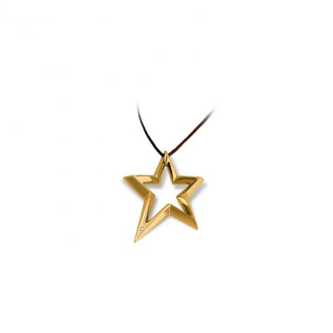 Collana Donna BROSWAY BSR04 Stella Acciaio placcato in Oro con Diamante